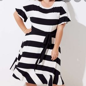 Loft  Striped Tie Waist Flounce Dress